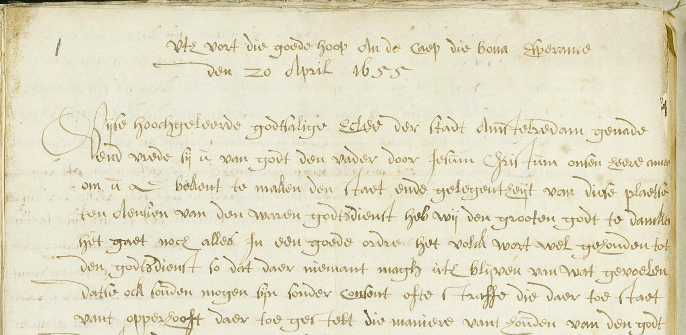 Picture of the first page of Pieter van der Stael's letter to the Classis Amsterdam