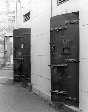 Iron doors to cells where hardened women prisoners were kept, Roeland Street Prison (now demolished), Cape Town, 1977