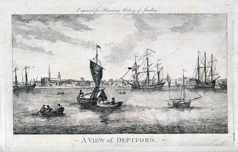 The Thames at Deptford, 1775 Engraving by J.Royce after J. Oliphant.