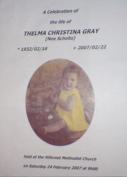 GRAY, Thelma Christina
